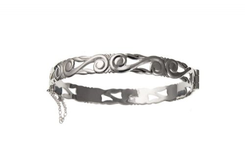 Sterling Silver Celtic Hinged Bangle
